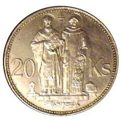 Slovaquia 20 Korun. 1941. AG. 15gr. Ley:0,500. (S.Kyrill y S.Mehodius). Ø31mm. SC-/SC. KM. 7.1