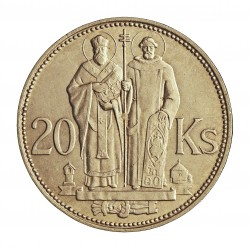 Slovaquia 20 Korun. 1941. AG. 15gr. Ley:0,500. (S.Kyrill y S.Mehodius). Ø31mm. EBC+. (Lev.rayitas rev.). KM. 7.1