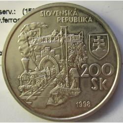 Slovaquia 200 Korun. 1998. AG. 20gr. Ley:0,750. (150º anv.ferrocarril-Locomotoras). Ø33mm. SC. KM. 42