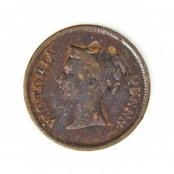 Straits Settlements ¼ Cent. 1845. (East.Ind.Cº). CU. 2,2gr. (Victoria). Ø18mm. BC+/MBC-. RARO/A. KM. 1