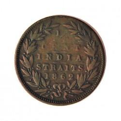 Straits Settlements ¼ Cent. 1862. (India Straits). CU. 2,2gr. (Victoria). Ø18mm. BC+/MBC-. MUY RARO/A. KM. 4