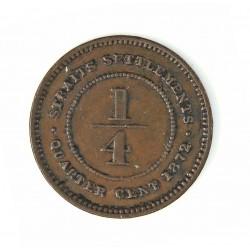 Straits Settlements ¼ Cent. 1872. H-(Heaton). CU. 2,2gr. (Victoria). Ø18mm. MBC/MBC+. MUY ESCASO/A. KM. 7