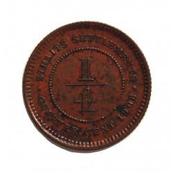 Straits Settlements ¼ Cent. 1908. AE. 2,2gr. (Eduardo VII). Ø18mm. SC-. (Muy leves manchitas.Patina). RARO/A. y mas asi. KM. 17