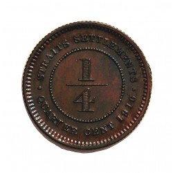 Straits Settlements ¼ Cent. 1916. AE. 2,2gr. (George V). Ø18mm. SC-/SC. (Casi todo su tono original.Lev.manchita). RARO/A. y ma