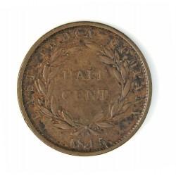Straits Settlements ½ Cent. 1845. (East Ind.Cº). CU. 4,7gr. (Curioso y raro roel al lado del 5 de la fecha). (Victoria). Ø22mm.