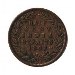 Straits Settlements ½ Cent. 1862. (India Straits). CU. 4,7gr. (Victoria). Ø22mm. MBC-/MBC. MUY RARO/A. KM. 5