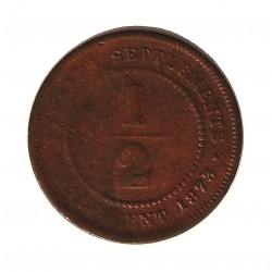 Straits Settlements ½ Cent. 1873. CU. 4,4gr. (Victoria). Ø22,5mm. MC/MC+. MUY RARO/A. KM. 8