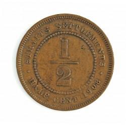 Straits Settlements ½ Cent. 1908. AE. 4,4gr. (Eduardo VII). Ø22,5mm. MBC-. MUY RARO/A. KM. 18