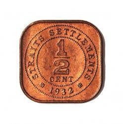 Straits Settlements ½ Cent. 1932. AE. 3gr. (George V). Ø17,5x17,5mm. SC-/SC. (Casi todo su tono original). MUY ESCASO/A. y mas
