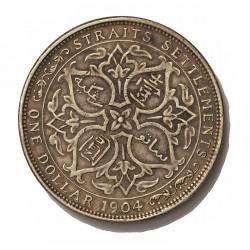 Straits Settlements 1 Dolar. 1904. B-(Bombay). AG. 26,95gr. Ley:0,900. (Eduardo VII). Ø37mm. EBC-/EBC. KM. 25