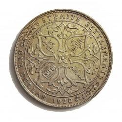 Straits Settlements 1 Dolar. 1920. AG. 16,85gr. Ley:0,500. (Eduardo VII). Ø39mm. EBC/EBC+. KM. 33