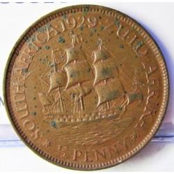 Sudafrica ½ Penny. 1929. CU. 5,7gr. Ø25mm. MBC. (Puntitos de lev.oxid.rev.). KM. 13.2