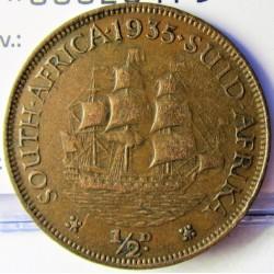 Sudafrica ½ Penny. 1935. CU. 5,7gr. Ø25mm. MBC/MBC+. KM. 13.3