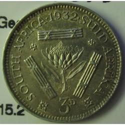 Sudafrica 3 Pence. 1932. AG. 1,41gr. Ley:0,800. (George V). Ø16mm. EBC+/SC-. KM. 15.2