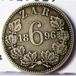 Sudafrica 6 Pence. 1896. AG. 2,828gr. Ley:0,925. Ø19,5mm. MBC-. KM. 4