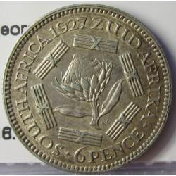 Sudafrica 6 Pence. 1927. AG. 2,83gr. Ley:0,800. (George V). Ø19mm. MBC+. KM. 16.1