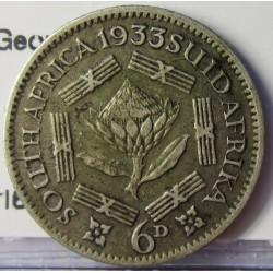Sudafrica 6 Pence. 1933. AG. 2,83gr. Ley:0,800. (George V). Ø19mm. MBC/MBC+. KM. 16.2