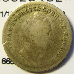 Suecia 0,06  Riksdaler. 1848. AG.  AG. 2,13gr. Ley:0,750. (1/16 de Riksdaler). Ø17mm. BC-/BC. KM. 665