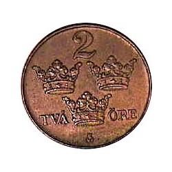 Suecia 2  Ore. 1927. CU. 4gr. Ø21mm. EBC+. KM. 778