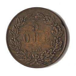 Suecia 5  Ore. 1873. /2?. AE. 8,5gr. Ø29mm. MBC+. (Gpcto.cto.). MUY RARO/A. KM. 730