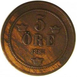 Suecia 5  Ore. 1882. CU. 7,77gr. Ø26,5mm. MBC+. KM. 736
