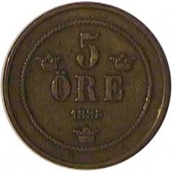 Suecia 5  Ore. 1885. CU. 7,77gr. Ø26,5mm. MBC+. KM. 736