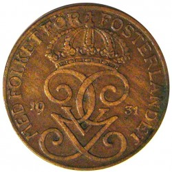 Suecia 5  Ore. 1931. CU. 8gr. Ø27mm. EBC-. KM. 779.2
