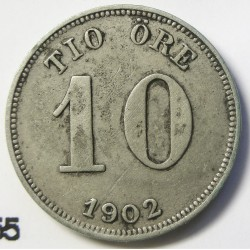 Suecia 10  Ore. 1902. EB. AG. 1,45gr. Ley:0,400. Ø15mm. EBC-. KM. 755