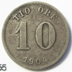 Suecia 10  Ore. 1904. EB. AG. 1,45gr. Ley:0,400. Ø15mm. MBC+. KM. 755