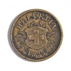 Suiza 5 Rappen. 1873. AE. 1,7gr. Ø17mm. EBC-. MUY ESCASO/A. KM. 5