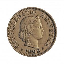 Suiza 5 Rappen. 1899. CUNI. 1,7gr. Ø17mm. EBC-. MUY ESCASO/A. KM. 26