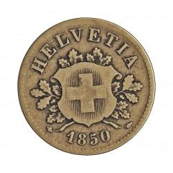 Suiza 10 Rappen. 1850. CUNI. 2,5gr. Ø19mm. BC-/RC+. MUY ESCASO/A. KM. 6