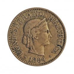 Suiza 10 Rappen. 1884. CUNI. 3gr. Ø19mm. MBC-. KM. 27