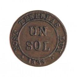 Suiza 1 Sols. 1833. (Canton de GINEBRA). VE. Ley:0,000. Ø17mm. EBC. MUY ESCASO/A. KM. 120 a
