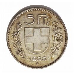 Suiza 5 Francos. 1922. B-(Berna). AG. 25gr. Ley:0,900. Ø37mm. EBC. KM. 37