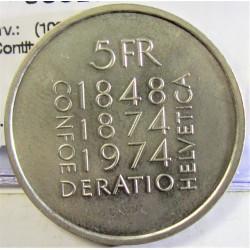 Suiza 5 Francos. 1974. B-(Berna). CUNI. 13,2gr. (100º Anv. Rev.Contitución). Ø31mm. SC. KM. 52