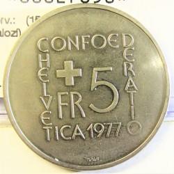 Suiza 5 Francos. 1977. B-(Berna). CUNI. 13,2gr. (150º Anv.Muerte Pestalozi). Ø31mm. SC. KM. 55