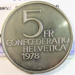Suiza 5 Francos. 1978. B-(Berna). CUNI. 13,2gr. (150º Anv.H.Dunant). Ø31mm. SC. KM. 56