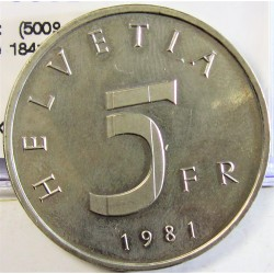 Suiza 5 Francos. 1981. B-(Berna). CUNI. 13,2gr. (500º Anv.Stands Conv.de 1841). Ø31mm. SC. KM. 60