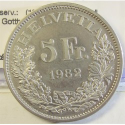 Suiza 5 Francos. 1982. B-(Berna). CUNI. 13,2gr. (100º Anv.Ferrocarril de Gotthard). Ø31mm. SC. KM. 61