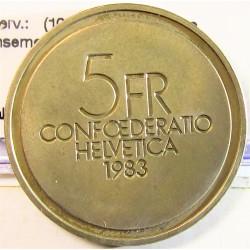 Suiza 5 Francos. 1983. B-(Berna). CUNI. 13,2gr. (100º Anv.Nacimiento E,Ansemet). Ø31mm. SC. (Patina). KM. 62