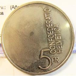 Suiza 5 Francos. 1985. B-(Berna). CUNI. 13,2gr. (Año Europeo de la Musica. Ø31mm. SC. KM. 64