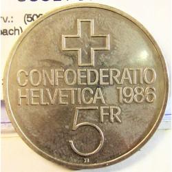 Suiza 5 Francos. 1986. B-(Berna). CUNI. 13,2gr. (500º Anv.Batalla de Sempach). Ø31mm. SC. KM. 65