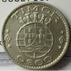 Timor 6 Escudos. 1958. AG. 7gr. Ley:0,650. Ø25mm. SC-. KM. 15