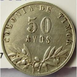 Timor 50 Avos. 1948. AG. 3,5gr. Ley:0,650. Ø20mm. SC-/SC. KM. 7