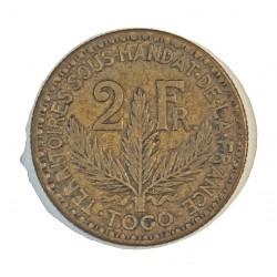 Togo 2 Francos. 1924. (a)-Paris. AL/AE. 10gr. Ø27mm. MBC/MBC+. (Lev.suciedad). MUY ESCASO/A. asi. KM. 3