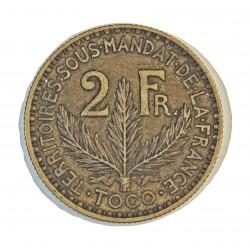 Togo 2 Francos. 1925. (a)-Paris. AL/AE. 10gr. Ø27mm. MBC/MBC+. (Lev.suciedad). MUY ESCASO/A. asi. KM. 3