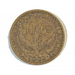 Togo 50 Cts. 1924. (a)-Paris. AL/AE. 2,5gr. Ø18mm. EBC+/SC-. (Lev.suciedad). MUY ESCASO/A. en esta conservacion. KM. 1