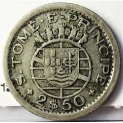 Tome y Principe.-Santo 2,5  Escudos. 1951. AG. 3,5gr. Ley:0,650. Ø20mm. MBC+. KM. 12