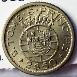 Tome y Principe.-Santo 2,5  Escudos. 1962. CUNI. 3,3gr. Ø19,5mm. SC. (Tono). ESCASO/A. asi. KM. 19